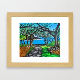 Maui black sand beach Framed Art Print