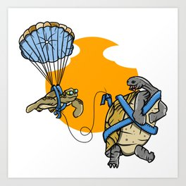 Turtle and tortoise parasailing Art Print