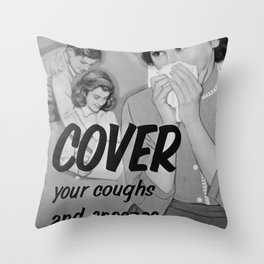 Cover Your Coughs and Sneezes: Retro Virus Awareness Poster Throw Pillow