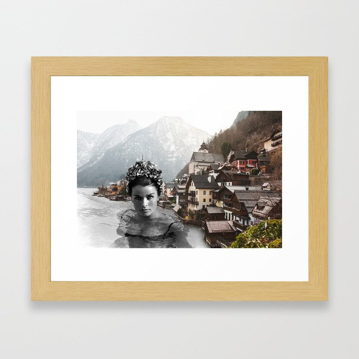 Water Lady Town Framed Art Print