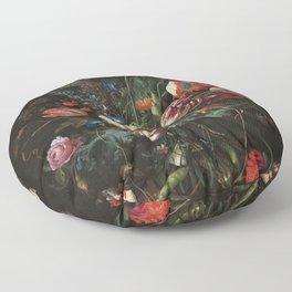 Still Life Parrot Tulips, Peonies, Hibiscus, Hydranga, Periwinkle Flowers in Vase by Jan de Heem Floor Pillow