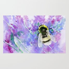 Bumblebee and Lavender Flowers Herbal Bee Honey Purple Floral design Rug