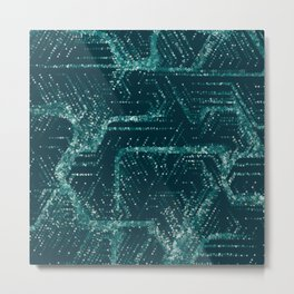 Teal and Triangles Metal Print