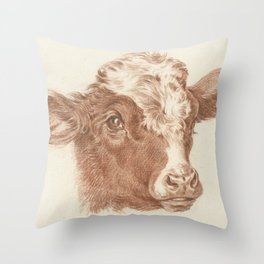 Vintage Cow Art Throw Pillow