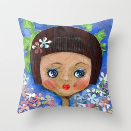 Dollface Throw Pillow
