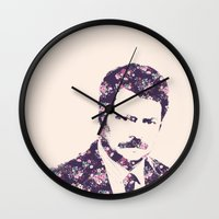 ron swanson Wall Clocks featuring Ron Swanson by MisfitKismet Designs