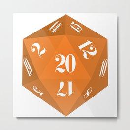 Orange 20-Sided Dice Metal Print