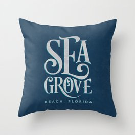 Seagrove Beach Typography (blue) Throw Pillow
