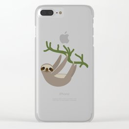 cute Three-toed sloth on green branch Clear iPhone Case