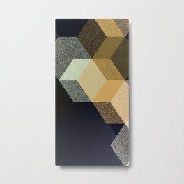 CUBE 1 GOLD & BLACK Metal Print