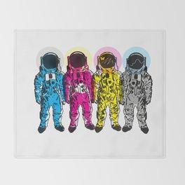 CMYK Spacemen Throw Blanket