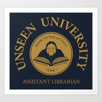 discworld Art Prints featuring Assistant Librarian by vonplatypus