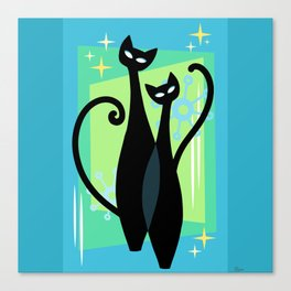 Sassy Sparkling Atomic Age Black Kitschy Cats Canvas Print
