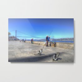 Fishermen And Cats Istanbul Metal Print