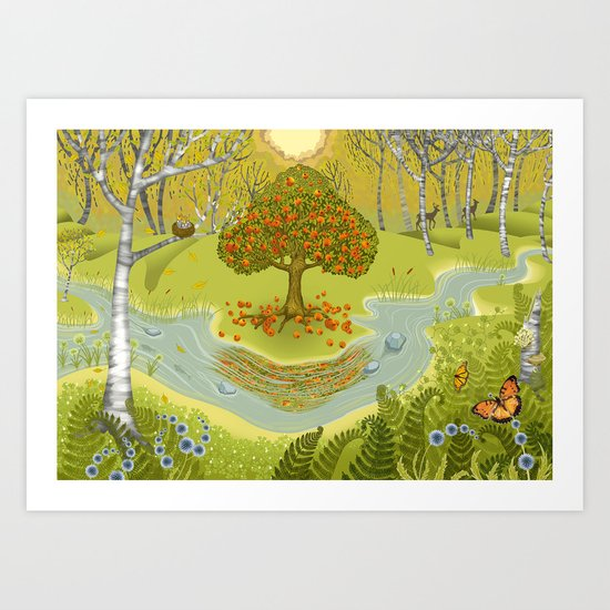 Magic Green Forest Art Print