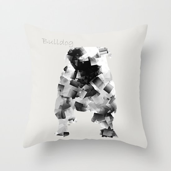 the bulldog  Throw Pillow