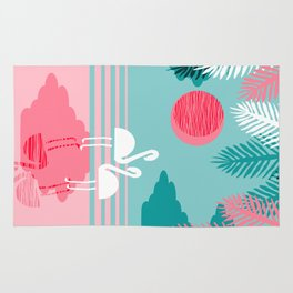 Chill Vibes - memphis retro throwback 1980s 80s neon pop art flamingo paradise socal vacation Rug