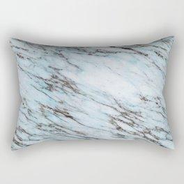 Aqua Black and White Marble Crackle Rectangular Pillow