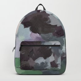 Dark Green Lilac Purple Gray Black Abstract Wall Art, Painting Art, Modern Wall Art Backpack