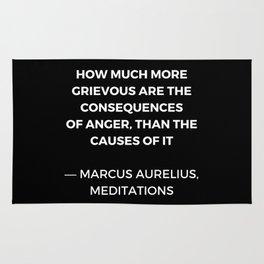 Stoic Wisdom Quotes - Marcus Aurelius Meditations -  on anger Rug