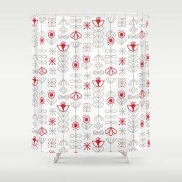 Folk Minimalist Floral  Shower Curtain
