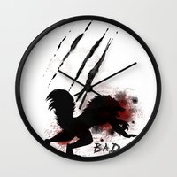 bad wolf Wall Clocks featuring Bad wolf by Halopromise
