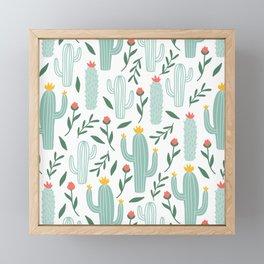 Mint Cactus Garden Framed Mini Art Print