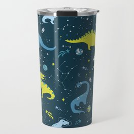 Space Dinosaurs in Bright Green and Blue Travel Mug
