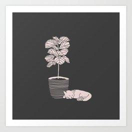 Cat and Plant Art Print