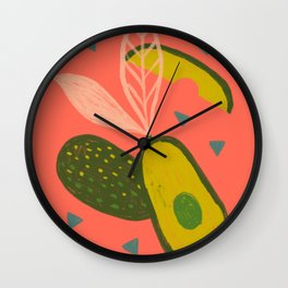 90s Style Avocado Wall Clock