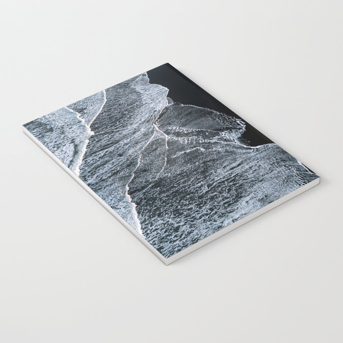 Waves on a black sand beach in iceland - minimalist Landscape Photography Notebook