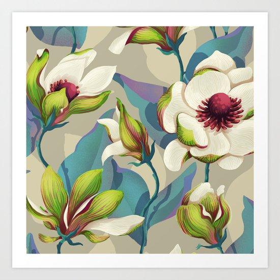 magnolia bloom - vivid version Art Print