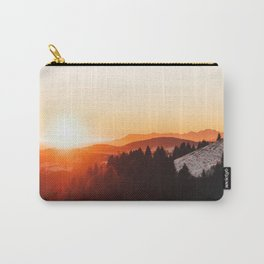 Red Orange Sunrise Parallax Mountains Pine tree Silhouette Minimalist Photo Carry-All Pouch