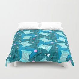 Memphis Sewing in Blue Duvet Cover