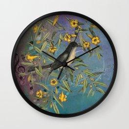 Flycatcher with Carolina Jasmine, Vintage Natural History and Botanical Wall Clock