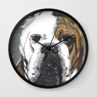 english bulldog Wall Clocks featuring English Bulldog  by ali_grace_gal