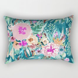 LESS IS BORE Colorful Tropical Floral Rectangular Pillow