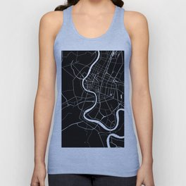 Bangkok Thailand Minimal Street Map - Midnight Black and White Unisex Tank Top