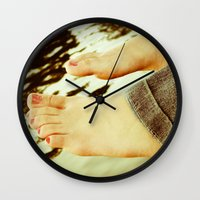 feet Wall Clocks featuring Feet by Upperleft Studios