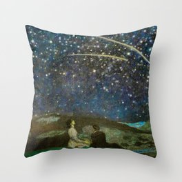 Shooting Stars, Summer Night by the Sea, Watch Hill, Rhode Island landscape by Franz Von Stuck Throw Pillow