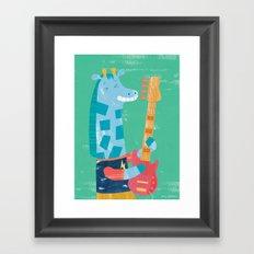 Giraffe Bass Player Framed Art Print