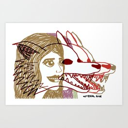 Triple She Wolf Art Print