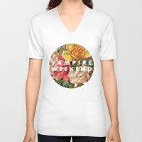 vampire weekend V-neck T-shirts featuring Vampire Weekend vintage flowers by Van de nacht