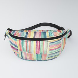 Retro Beach Chair Pastel Watercolor Stripes Fanny Pack