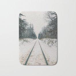 Train tracks in the winter Bath Mat