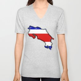 Costa Rica Map with Costa Rican Flag Unisex V-Neck
