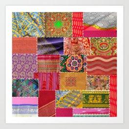 Boho Sari Patchwork Quilt Art Print