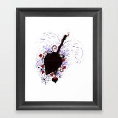 Bleeding Black Heart Guitar Framed Art Print