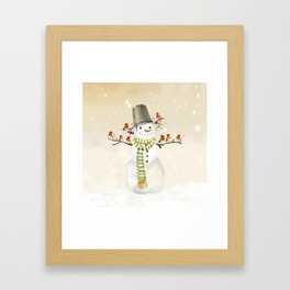 Snowman and Birds Framed Art Print