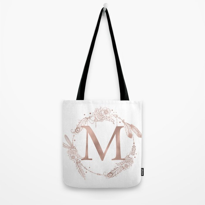 Letter M Rose Gold Pink Initial Monogram Tote Bag